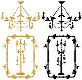 Framework candelabrum and chandelier — Stock Vector