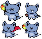 Set from grey cartoon kittens — Stock Photo