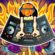 DJ behind the console, the top view — Stock Vector