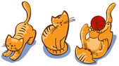 Set from four red cartoon kittens — Stock Vector
