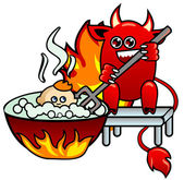Devil with a pitchfork in a hand — Stock Vector
