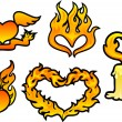 Set of flame hearts — Stock Vector