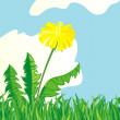 Dandelion in an environment of a grass against the blue sky — Stock Vector #13890818