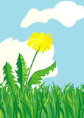 Dandelion in an environment of a grass against the blue sky — Stock Vector