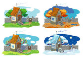 Rural small house — Stock Vector