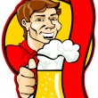 Man with a beer glass - Stock Vector