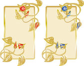 Two banners with a decor from gold and jewels — Stock Vector