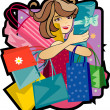 Woman with purchases — Imagen vectorial