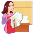 Stock Vector: Girl wiping plates