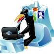 Global communications Penguin with the laptop in ear-phones, against photos of animals — Stock Vector