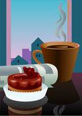 Desayuno con un postre de café y el periódico — Vector de stock