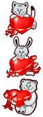 Gato, coelho, urso filhote segure em patas de coração com fitas — Vetor de Stock