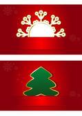 Noel kartı ile kar tanesi noel ağacı sonu — Stok Vektör