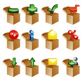 Boxes set of icons — Stock Vector