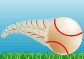 La pelota volando en el cielo y la hierba — Vector de stock