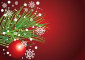 Tarjeta con árbol de navidad, los copos de nieve y bola de árbol de la piel — Vector de stock
