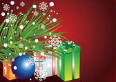 卡与圣诞树、 雪花和礼品盒 — 图库矢量图片