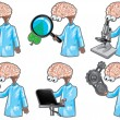 Science.The brain in a bathrobe who studies nature (Icon set) — Stock Vector