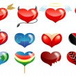 Set of hearts icon by day of ST. Valentine — Stock Vector
