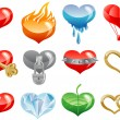 Stock Vector: Set of hearts icon by day of ST. Valentine
