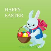 Conejo de pascua con una cesta en la que pone huevos — Vector de stock