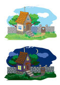 Small rural house and landscape (day and night) — Stock Vector