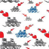 シームレスな幸せなバレンタインデー (外輪汽船) — ストックベクタ