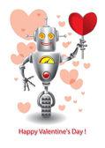 Happy Valentine's, robot holding in hand heart — Stock Vector
