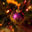 图库照片: Purple Christmas bauble on Christmas tree