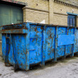 Stock Photo: Blue, Rusty Waste Skip
