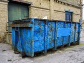 Blue, Rusty Waste Skip — Stock Photo