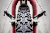 Knobbly Front Tire of a Mountain Bike — Stock Photo