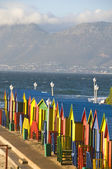 Colourful huts on the beach, St James, Cape Town — Stok fotoğraf