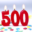 Birthday candles showing Nr. 500 — Stock Photo