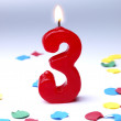 Birthday candles showing Nr. 3 — Stock Photo #13552247