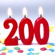 Birthday candles showing Nr. 200 — Stock Photo
