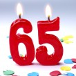 Birthday candles showing Nr. 65 — Stock Photo
