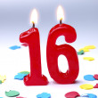 Stock Photo: Birthday candles showing Nr. 16