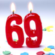 Birthday candles showing Nr. 69 - Stock Photo
