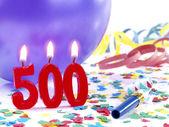 Bougies d'anniversaire montrant nr. 500 — Photo