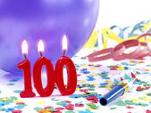 Birthday candles showing Nr. 100 — Stock Photo