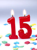 Birthday candles showing Nr. 15 — Stock Photo