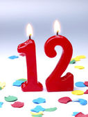 Birthday candles showing Nr. 12 — Stock Photo