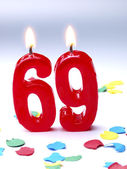 Birthday candles showing Nr. 69 — Stock Photo