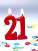 Birthday candles showing Nr. 21 — Stock Photo