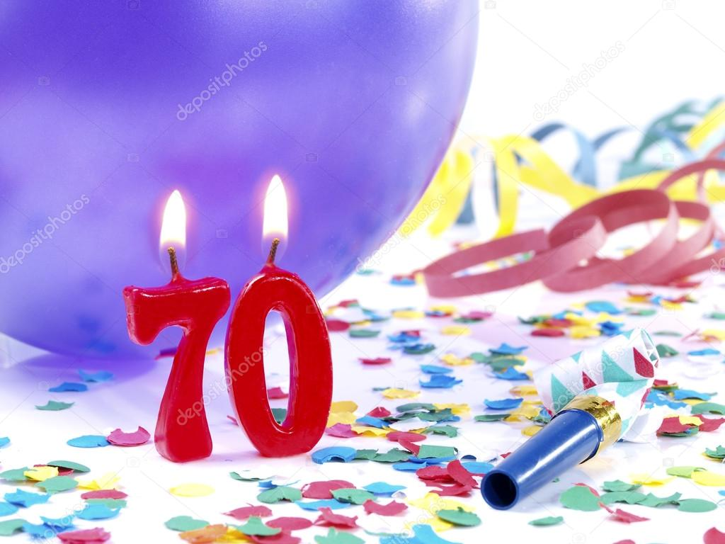 stock photo birthday candles showing nr 70
