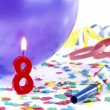 Birthday candles showing Nr. 8 — Stock Photo