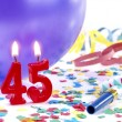 Birthday candles showing Nr. 45 — Stock Photo