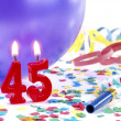 Stock Photo: Birthday candles showing Nr. 45