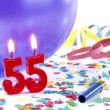 Birthday candles showing Nr. 55 — Stock Photo